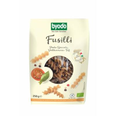Byodo Bio Fusilli, teljes kiőrlésű rizs-teff tészta - gluténmentes 250g