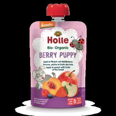 Holle Bio Berry Puppy - Tasak alma, őszibarack erdei gyümölcsökkel 100g